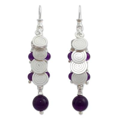 Cultured pearl and amethyst cluster earrings