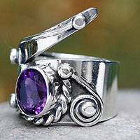 Amethyst cocktail ring, 'Desert Serpent' - Mexican Taxco Silver Amethyst Cocktail Ring