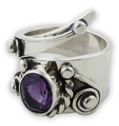Mexican Taxco Silver Amethyst Cocktail Ring