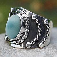 Men's turquoise ring, 'Protect' - Men's turquoise ring