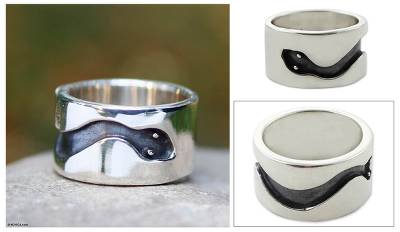 Men's sterling silver ring, 'Blacksnake' - Men's sterling silver ring