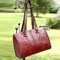 Leather shoulder bag Tonala Burgundy Mexico
