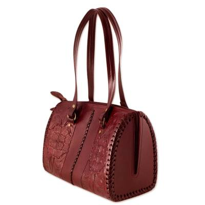 Leather shoulder bag, 'Tonala Burgundy' - Artisan Crafted Leather Shoulder Bag from Mexico