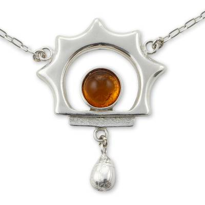 Unique Sterling Silver Sunshine Necklace with Amber
