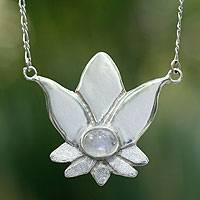 Rainbow moonstone flower necklace, 'Virgo Lotus' - Mexican Silver and Moonstone Necklace