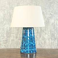 Glass mosaic table lamp, 'Moody Blue' - Glass mosaic table lamp