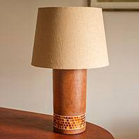 Glass mosaic ceramic table lamp, 'Jalisco Sunset' - Ceramic and Glass Mosaic Table Lamp