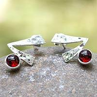 Garnet button earrings, 'Life Script' - Garnet button earrings