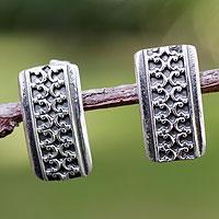 Silver button earrings,