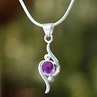 Amethyst pendant necklace, 'Flow' (Mexico)