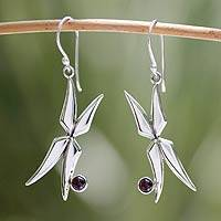 Garnet dangle earrings, 'Fairy Wings' - Garnet dangle earrings