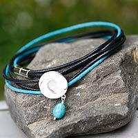 Turquoise wrap bracelet, 'Integration' - Turquoise Wrap Bracelet with 925 Silver Pendant