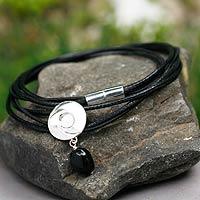 Obsidian wrap bracelet,