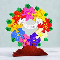 Wood display jigsaw puzzle, 'My Life' - Wood Tree of Life Puzzle Sculpture Folk Art