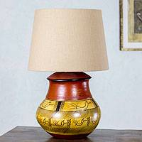 Ceramic table lamp, 'Tarahumara Mystery' - Handcrafted Rustic Ceramic Lamp with Cotton Shade
