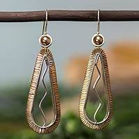 Copper accent sterling silver dangle earrings, 'Aura' - Handmade Copper Accent Silver Earrings from Mexico