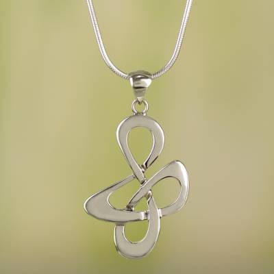 Sterling silver pendant necklace, 'Freedom Song' - Fair Trade Sterling Silver Modern Necklace