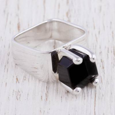 Obsidian solitaire ring, 'Facets' - Taxco Silver Ring with Obsidian