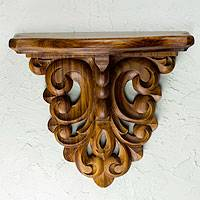 Parota wood wall shelf, 'Colonial Grace' (large) - Mexican Hardwood Colonial Wall Shelf (Large )