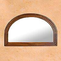 Parota wood wall mirror, 'Mexican Dawn' - Minimalist Mexican Hardwood Wall Mirror