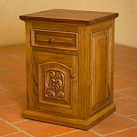 Parota wood nightstand, 'Colonial Blossom' - Artisan Crafted Colonial Parota Wood Nightstand