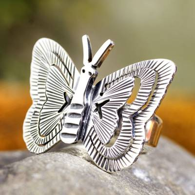 om ring silver quarter scrap - Butterfly Ring Hand Made Taxco Silver Jewelry