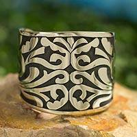 Silver cuff bracelet, 'Shadow Vines' - Handcrafted Mexican Silver Bracelet from Taxco