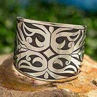 Silver cuff bracelet, 'Calla Lily Mosaic' - Taxco Jewelry Sterling Silver Handcrafted Bracelet Cuff