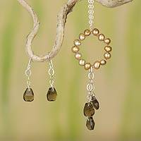 Cultured pearl and smoky quartz jewelry set, 'Waterfall' - Jewelry Set- Pearl and Smoky Quartz Pendant on Silver Chain
