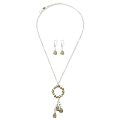 Pearl Smoky Quartz Jewelry Set from Mexico