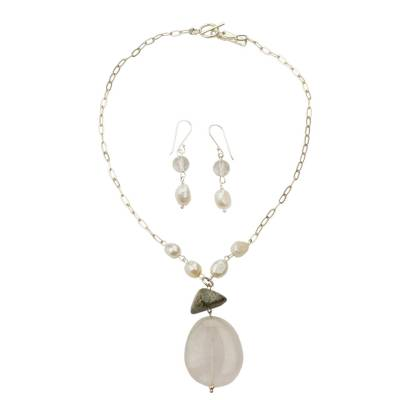 Pearl Quartz and Lapis Lazuli Jewelry Set from Mexico