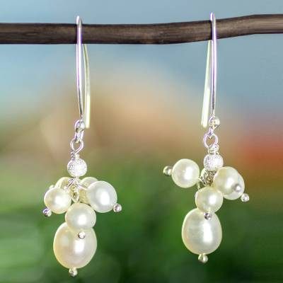 Cultured pearl cluster earrings, 'Cancun Clouds' - Artisan Crafted White Pearl Cluster Earrings