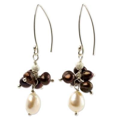 Artisan Crafted Brown and White Pearl Cluster Earrings