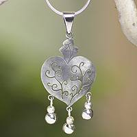 Sterling silver heart necklace, 'Depth of Heart' - Artisan Crafted Necklace Taxco Sterling Silver Jewelry