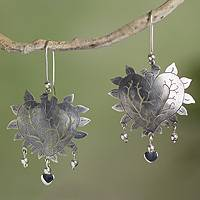 Sterling silver heart earrings, 'Beating Hearts' - Taxco Jewelry Hand Made Sterling Silver Earrings
