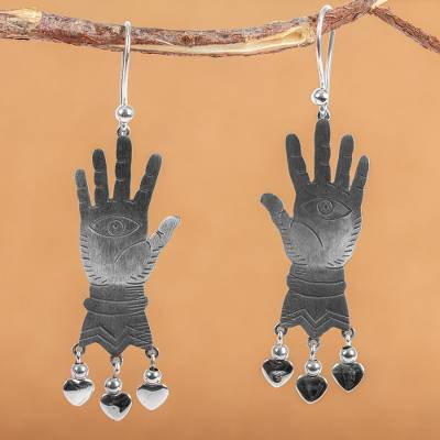 Sterling silver chandelier earrings, 'All-Seeing Eyes' - Sterling Silver Earrings Taxco Artisan Jewelry