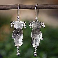 Sterling silver dangle earrings, 'Vintage Juggler' - Taxco Jewelry Hand Made Sterling Silver Earrings