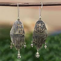 Sterling silver chandelier earrings, 'Protective Hands'