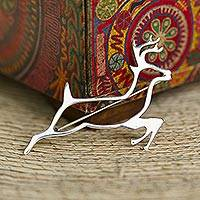Sterling silver brooch pin, 'Deer Protector' (Mexico)