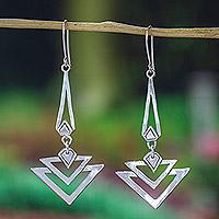 Sterling silver dangle earrings, 'Art Deco'