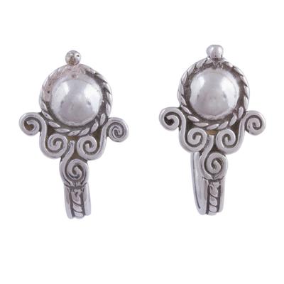 Handmade Silver Half Hoop Earrings
