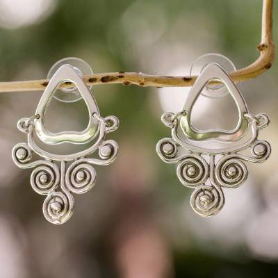 Sterling silver dangle earrings, 'Quiet Currents' - Silver Earrings Handcrafted in Mexico
