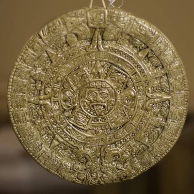 Ceramic wall plaque, Aztec Calendar in Brown (small)