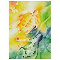 'Marine Friends' - Octopus and Sea Turtle Watercolor painting Mexico Fine Art