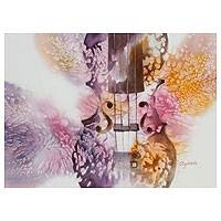 'Violin I' - Violet and Ocher Watercolor Signed Painting