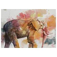 'Elephant on the Path' - Watercolor Painting Mexico Signed Fine Art