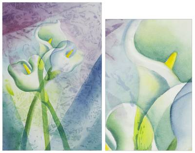 'Calla Lilies' - Watercolor Painting Mexico Signed Fine Art
