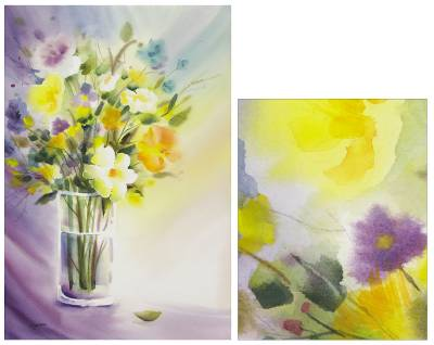 'Vase' - Original Watercolor Floral Bouquet Painting