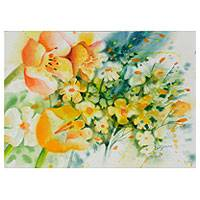 'Floral Breeze' - Original Watercolor Wildflower Still Life Painting