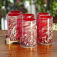 Blown glass tumblers, 'Festive Red' (set of 6) - Set of 6 Red Artisan Crafted Hand Blown Glasses
